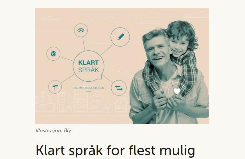 Bild från den norska kommunförbundets hemsida med en illustration där det går en koppling mellan en mans hjärta och i klarspråkt