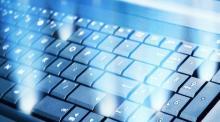 Bild på ett blått tangentbord.