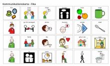 """Bilden föreställer en """"kommunikationskarta"""" med bilder som beskriver aktiviteter kring """"fika"""". Bilden kommer från bildstod.se."""